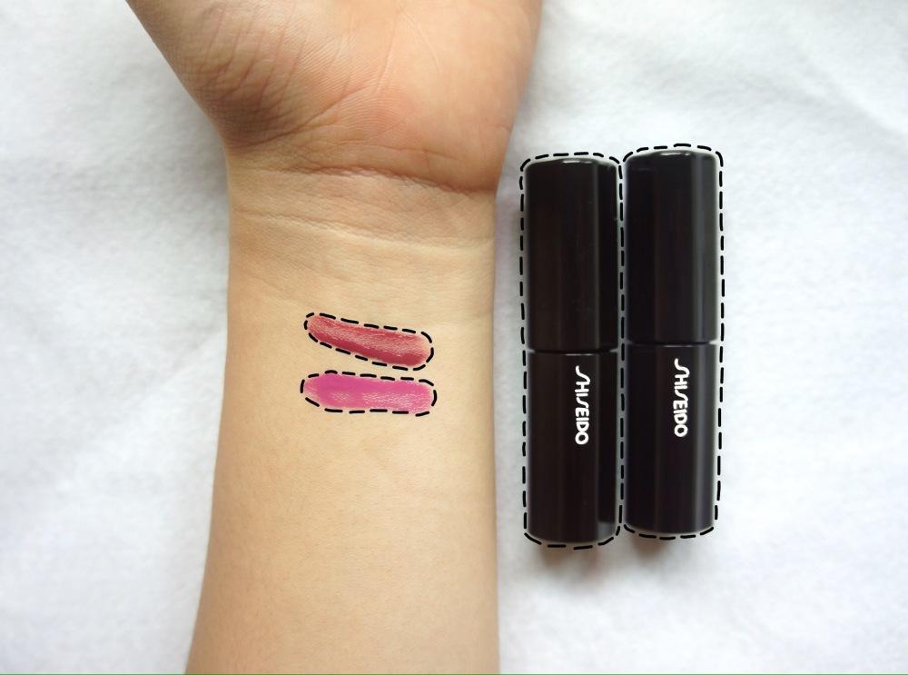 Shiseido lipstick swatches