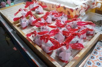 Korea Myeongdong street food strawberry mochi