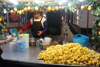 Korea Myeongdong street food fresh lemonade
